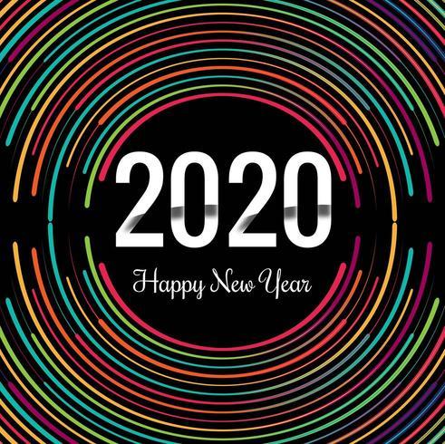 Nieuwjaar creatief 2020 neonringenontwerp vector