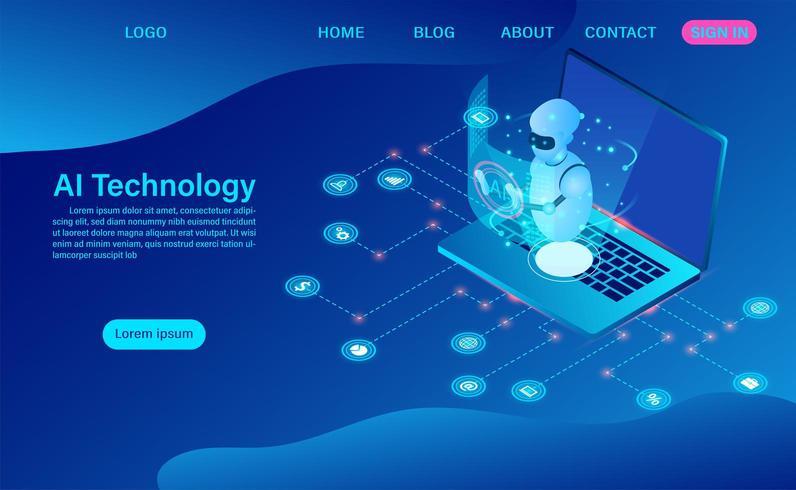robot kunstmatige intelligentie technologie in software computer vector