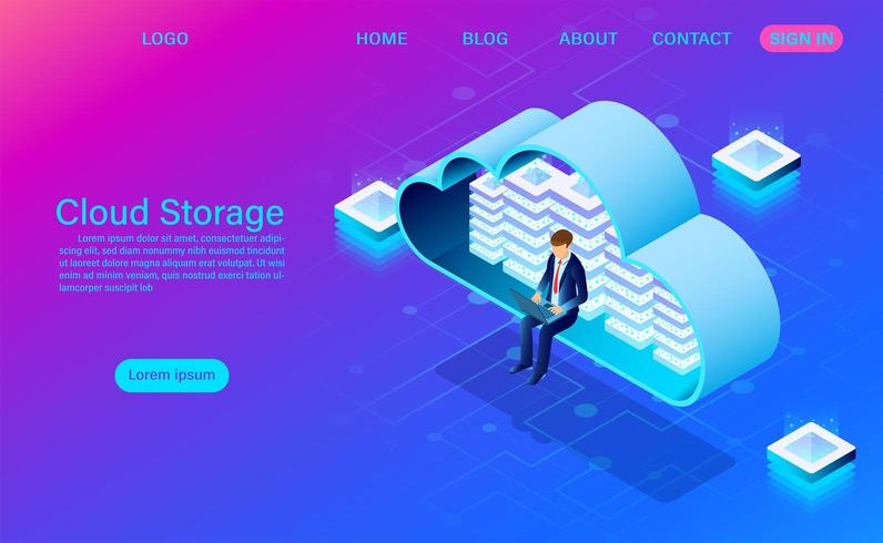 cloudopslagtechnologie en netwerkconcept met man op laptop in de cloud vector