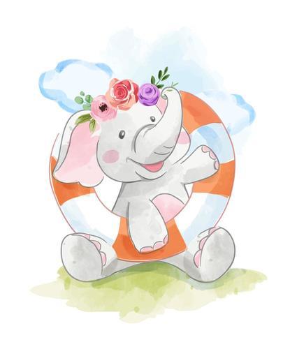 olifant en zwemring vector