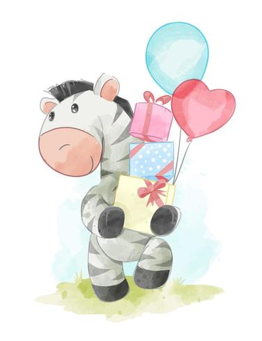 zebra die huidige dozen houdt vector
