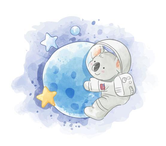 astronaut koala op de maan vector