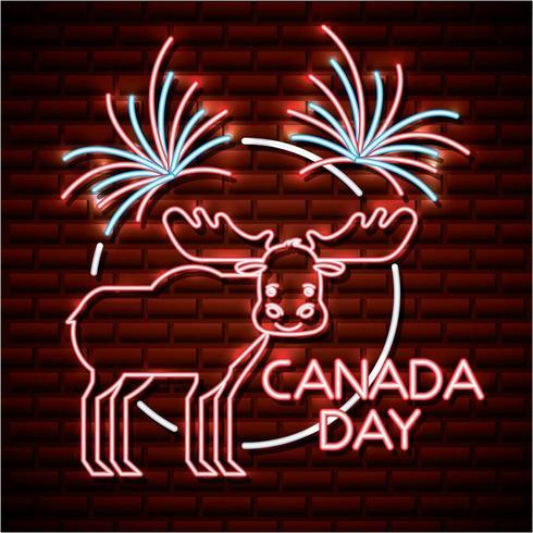Canada dag neon bord met eland vector