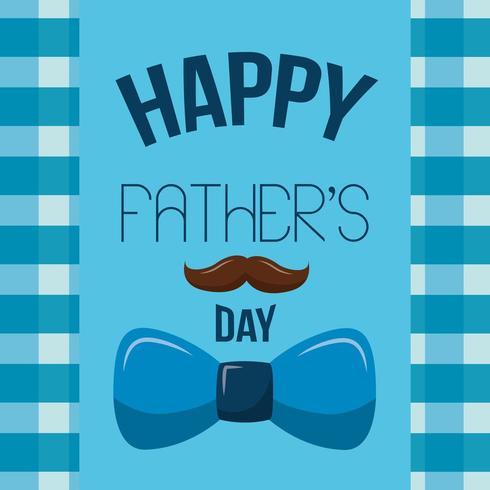 gelukkige vaders dag kaart met snor en strikje vector