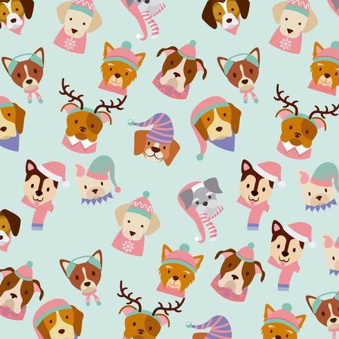 hond vrolijk kerstkaart patroon vector