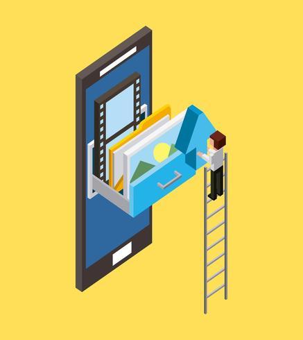 isometrische man op ladder met lade die smartphone naar voren komt vector