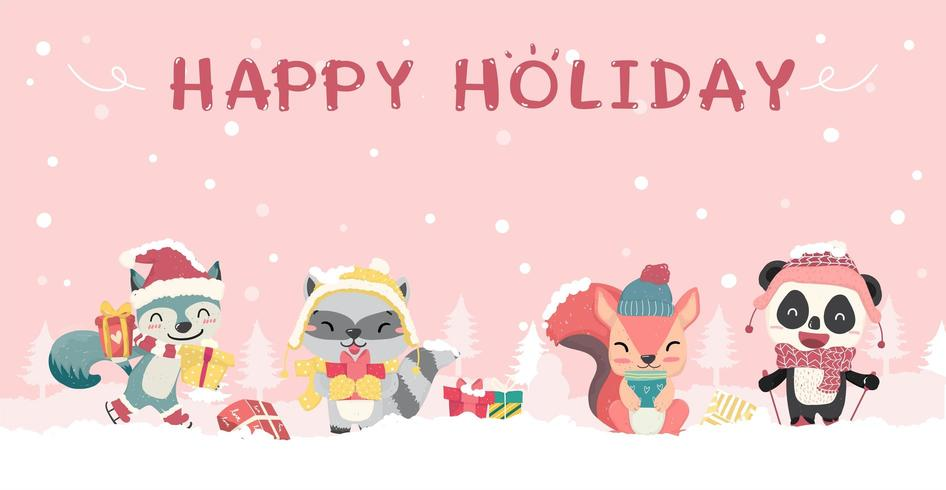 Gelukkig schattige wilde dieren in winter kerst kostuum vector