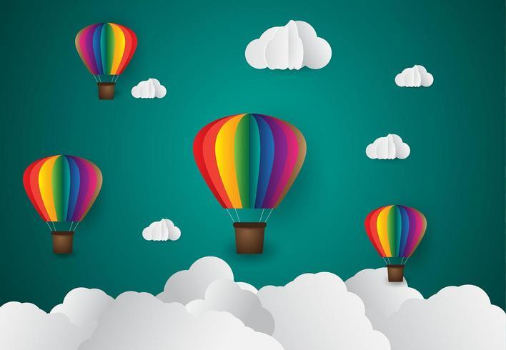 papier kunststijl. Origami maakte kleurrijke luchtballonwolk. blauwe lucht en zonsondergang vector