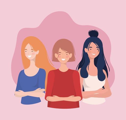groep jonge vrouwen staande personages vector