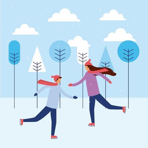Gelukkige mensen schaatsen in de winter vector