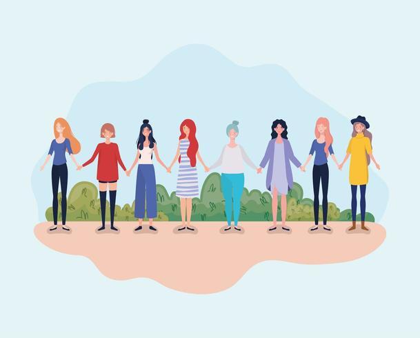 jonge vrouwengroep die zich in het kamp bevindt vector