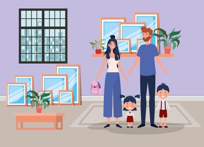 familieleden in huis plaats scène vector