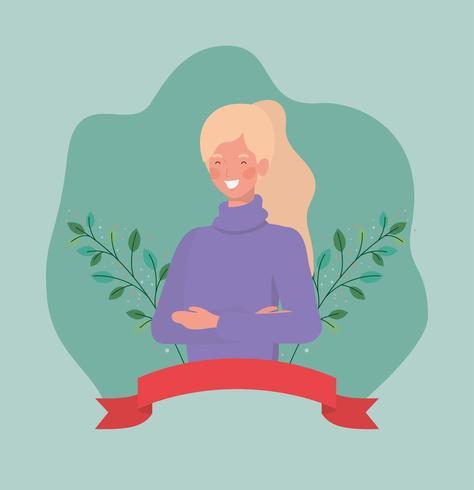 jonge vrouw met frame lint en bladeren vector