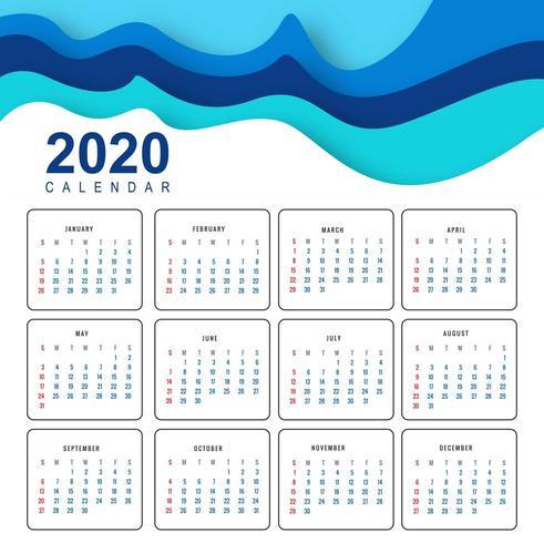 Abstracte 2020-kalender in golfontwerp vector
