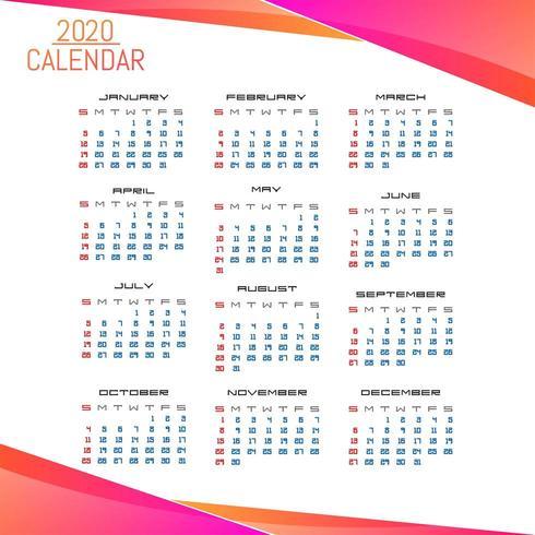Eenvoudige zakelijke stijl 2020 kalendersjabloon vector