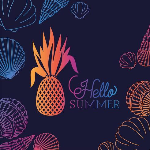 Hallo zomer en vakantie zeeschelp ananasontwerp vector