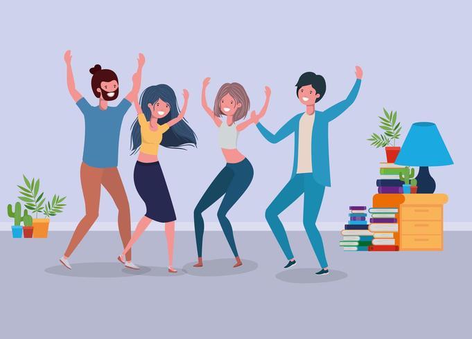 jongeren dansen in de woonkamer vector