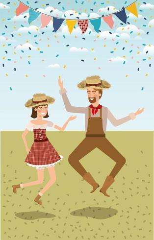 boerenpaar vieren met slingers vector