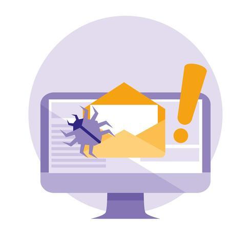 e-mail controleren en enveloppen met aanvalsvirus vector