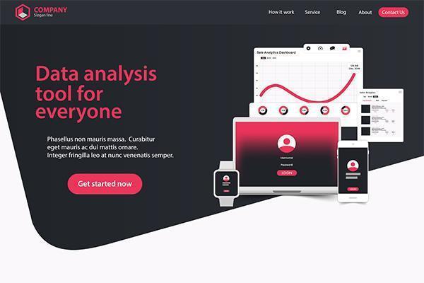 Website Landing Page Design Web Analytics Website Vector sjabloonontwerp
