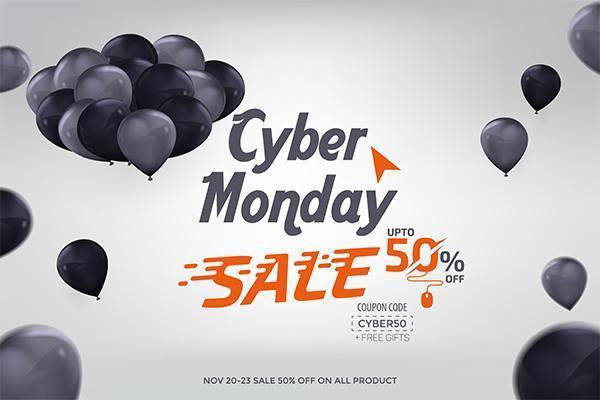 Cyber maandag verkoop banner advertentie vector sjabloonontwerp
