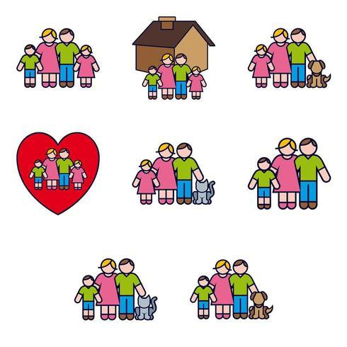 Ouders en kinderen Icon Set vector