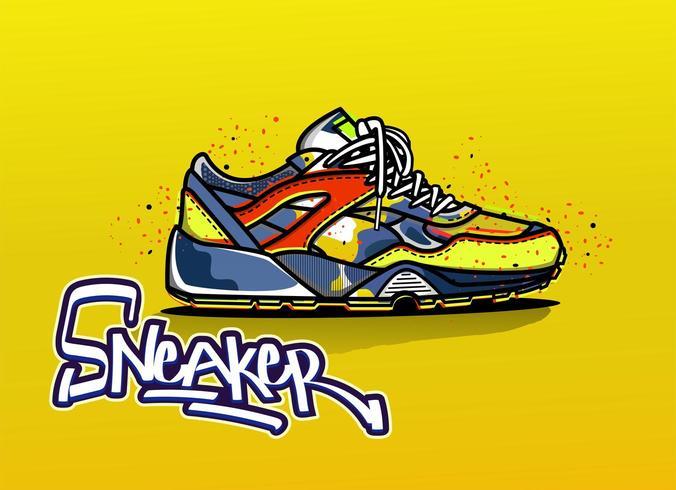 Illustratie van tennisschoen in graffiti vector