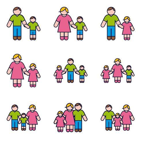Ouders met kinderen Icon Set vector