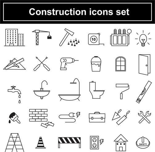Bouw pictogrammen instellen vector