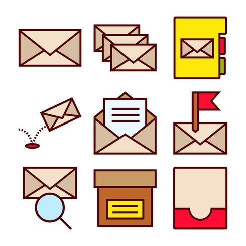 E-mail interacties Icon Set vector