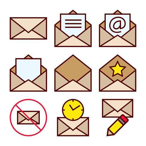 Set van iconen van mailingacties voor ontvangen e-mailcorrespondentie vector