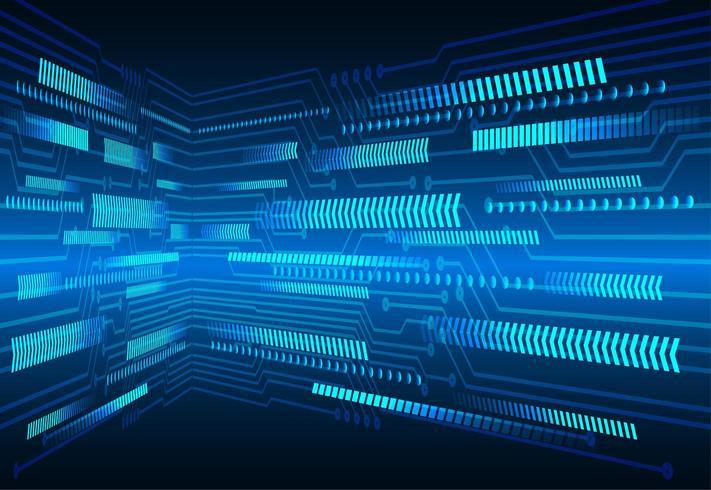 Blauwe pijl cyber circuit technologie achtergrond vector