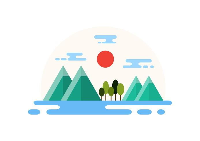 Platteland landschap platte ontwerp illustratie vector