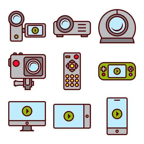 Video-opname en schermen Apparaten vector