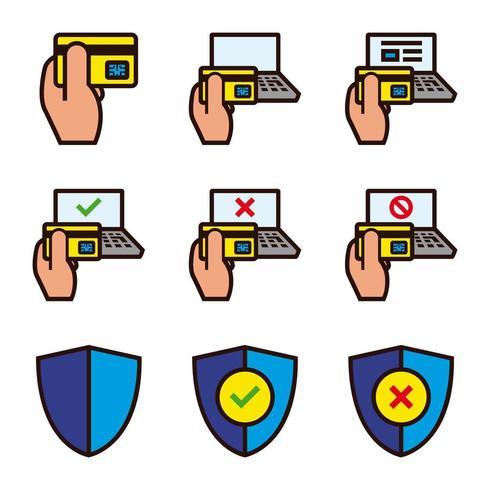 Set van pictogrammen voor online winkelen beveiliging vector