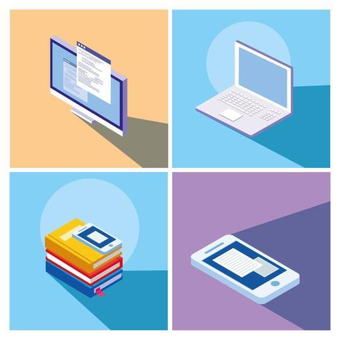 online onderwijs vastgestelde pictogrammen vector