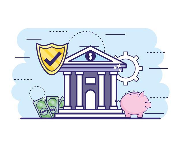 financiële bank met shiel beveiliging en rekeningen met piggy vector