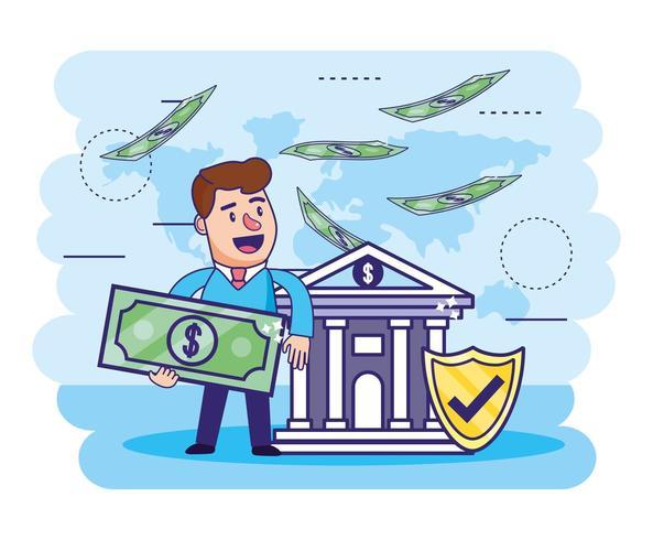 man met rekening en bank met veiligheidsschild vector