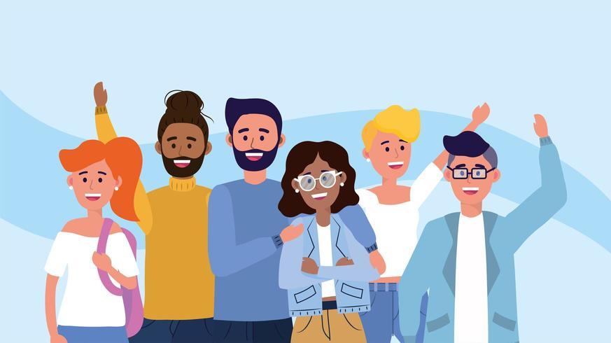 gelukkige vrouwen en mannen vrienden met vrijetijdskleding vector