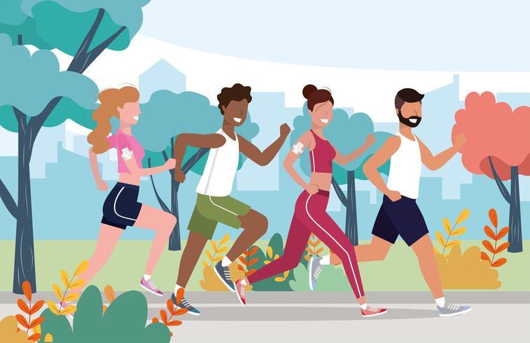 mannen en vrouwen gezondheidsoefeningen en hardloopactiviteiten vector