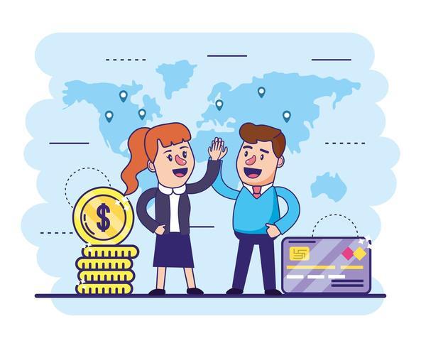 vrouw en man met creditcard en munten vector