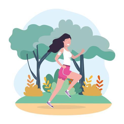 vrouw training lopende sportactiviteit vector