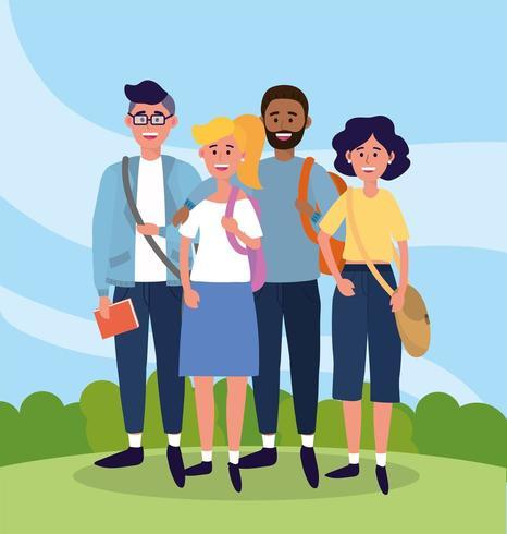universitaire mensen met vrijetijdskleding en tassen vector
