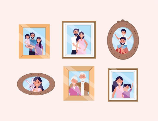 set vrouw en man met dochter en zoon foto's vector