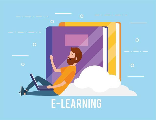 man met laptop technologie en boeken onderwijs vector