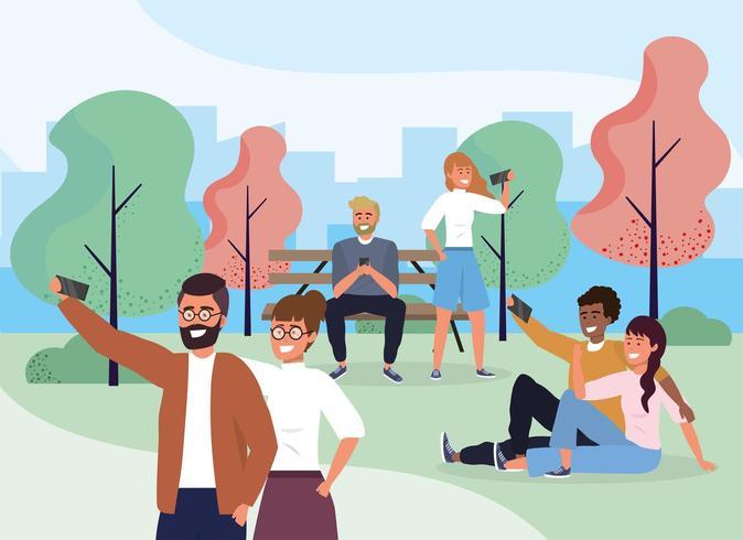 grappige mensen koppelen aan smartphone in het park vector