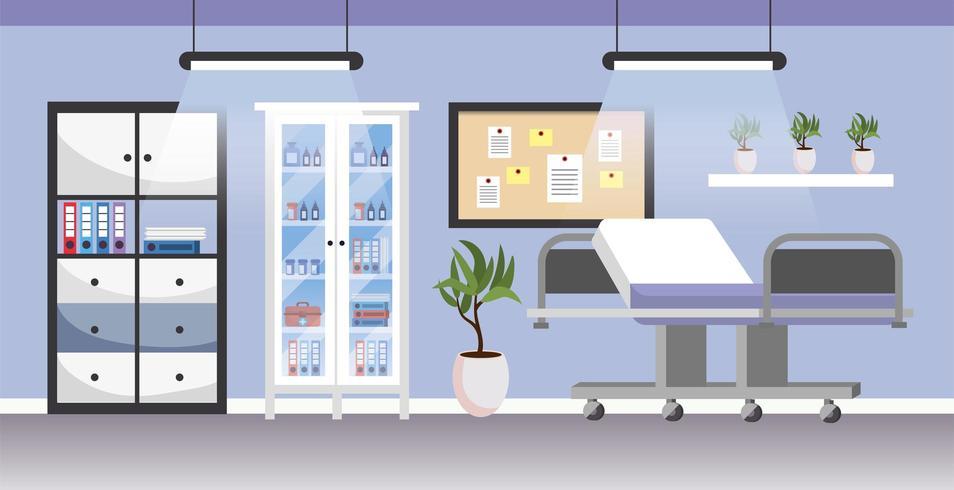 professioneel ziekenhuis met medische brancard en keukengerei vector