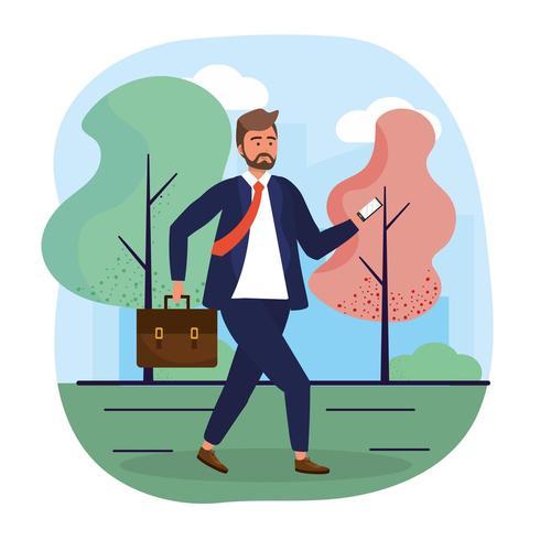 zakenman met smartphonetechnologie en elegante kleding vector