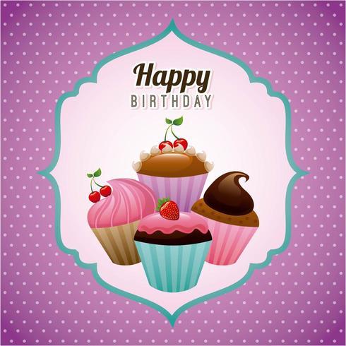 Verjaardag ontwerp op paarse achtergrond vector