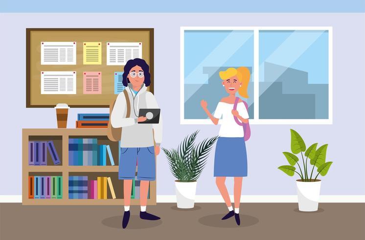 jongen en meisje met onderwijs tablet in de klas vector